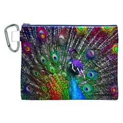 3d Peacock Pattern Canvas Cosmetic Bag (XXL)