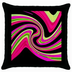 Magenta and yellow Throw Pillow Case (Black)