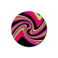 Magenta and yellow Rubber Coaster (Round)