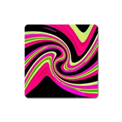 Magenta and yellow Square Magnet