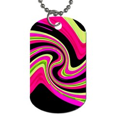 Magenta and yellow Dog Tag (One Side)