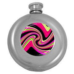 Magenta and yellow Round Hip Flask (5 oz)