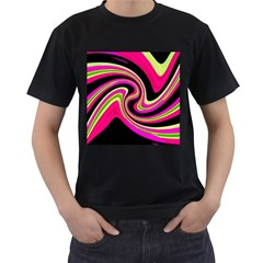 Magenta and yellow Men s T-Shirt (Black)