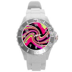 Magenta and yellow Round Plastic Sport Watch (L)