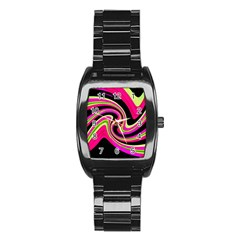 Magenta And Yellow Stainless Steel Barrel Watch