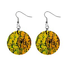 Gentle yellow abstract art Mini Button Earrings
