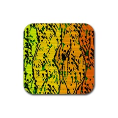 Gentle yellow abstract art Rubber Coaster (Square)