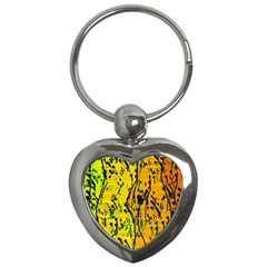 Gentle yellow abstract art Key Chains (Heart)