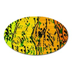 Gentle yellow abstract art Oval Magnet