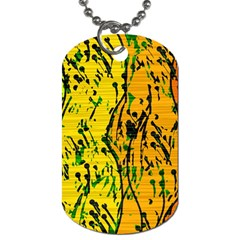 Gentle Yellow Abstract Art Dog Tag (one Side)