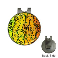 Gentle yellow abstract art Hat Clips with Golf Markers