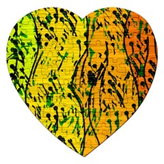 Gentle yellow abstract art Jigsaw Puzzle (Heart)