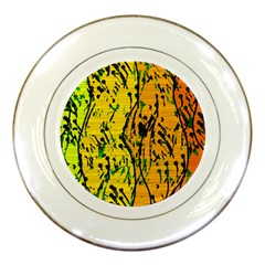 Gentle yellow abstract art Porcelain Plates