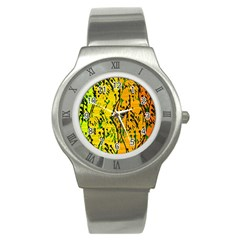Gentle yellow abstract art Stainless Steel Watch