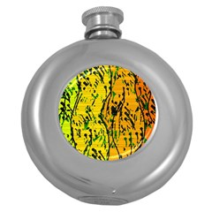Gentle yellow abstract art Round Hip Flask (5 oz)