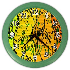 Gentle yellow abstract art Color Wall Clocks
