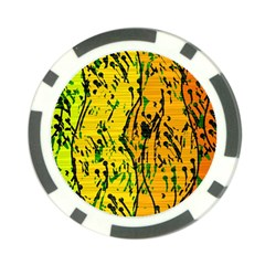 Gentle yellow abstract art Poker Chip Card Guards