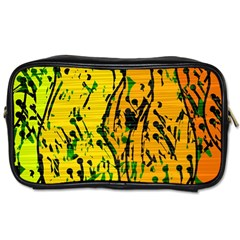 Gentle yellow abstract art Toiletries Bags