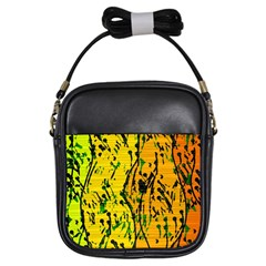Gentle yellow abstract art Girls Sling Bags