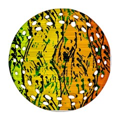 Gentle yellow abstract art Round Filigree Ornament (2Side)