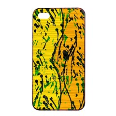 Gentle yellow abstract art Apple iPhone 4/4s Seamless Case (Black)