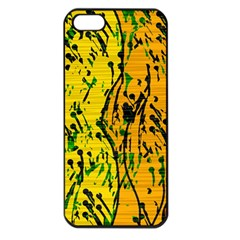 Gentle yellow abstract art Apple iPhone 5 Seamless Case (Black)