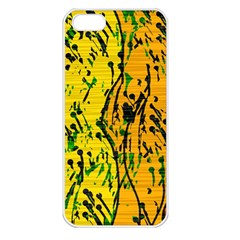 Gentle yellow abstract art Apple iPhone 5 Seamless Case (White)