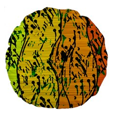 Gentle yellow abstract art Large 18  Premium Round Cushions