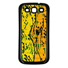 Gentle yellow abstract art Samsung Galaxy S3 Back Case (Black)