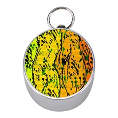 Gentle yellow abstract art Mini Silver Compasses