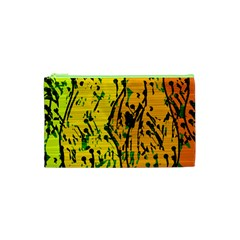 Gentle yellow abstract art Cosmetic Bag (XS)