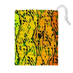 Gentle yellow abstract art Drawstring Pouches (Extra Large)