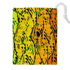 Gentle yellow abstract art Drawstring Pouches (XXL)
