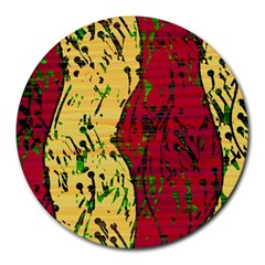 Maroon and ocher abstract art Round Mousepads
