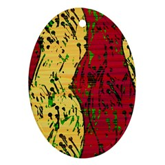 Maroon and ocher abstract art Ornament (Oval)