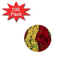 Maroon and ocher abstract art 1  Mini Buttons (100 pack)