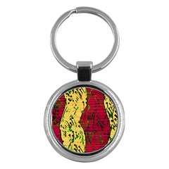 Maroon and ocher abstract art Key Chains (Round)