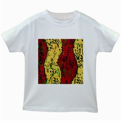 Maroon and ocher abstract art Kids White T-Shirts