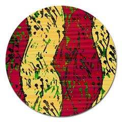 Maroon and ocher abstract art Magnet 5  (Round)