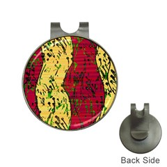 Maroon and ocher abstract art Hat Clips with Golf Markers