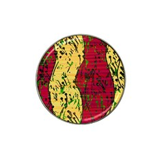Maroon and ocher abstract art Hat Clip Ball Marker (4 pack)