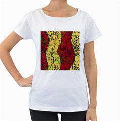 Maroon and ocher abstract art Women s Loose-Fit T-Shirt (White)