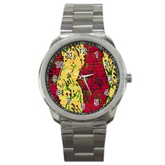 Maroon and ocher abstract art Sport Metal Watch