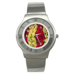 Maroon and ocher abstract art Stainless Steel Watch