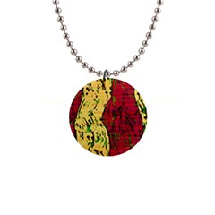 Maroon and ocher abstract art Button Necklaces