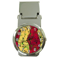 Maroon and ocher abstract art Money Clip Watches