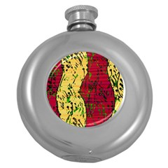 Maroon and ocher abstract art Round Hip Flask (5 oz)