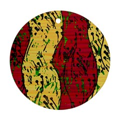 Maroon and ocher abstract art Round Ornament (Two Sides)