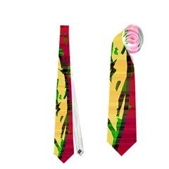Maroon and ocher abstract art Neckties (Two Side)