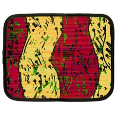 Maroon and ocher abstract art Netbook Case (Large)